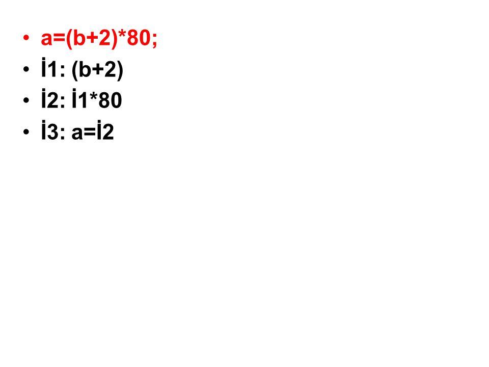 •a=(b+2)*80; •İ1:(b+2) •İ2:İ1*80 •İ3:a=İ2