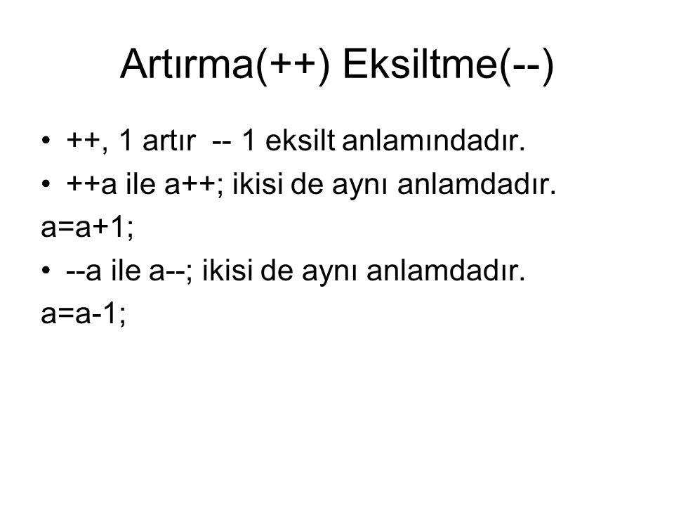 Artırma(++) Eksiltme(--) •++, 1 artır -- 1 eksilt anlamındadır. •++a ile a++; ikisi de aynı anlamdadır. a=a+1; •--a ile a--; ikisi de aynı anlamdadır.