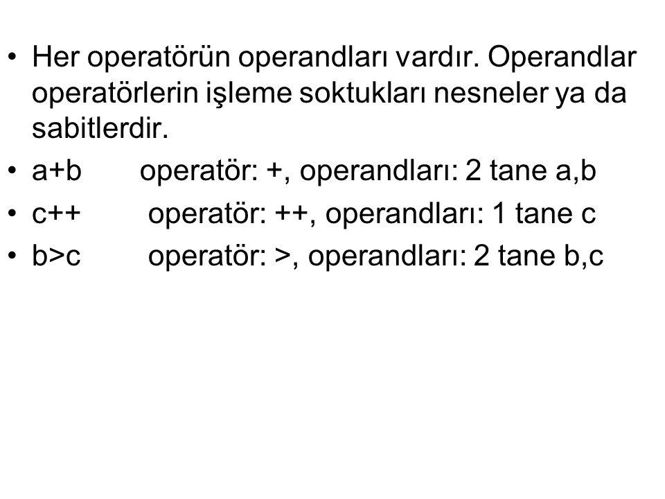 •Her operatörün operandları vardır. Operandlar operatörlerin işleme soktukları nesneler ya da sabitlerdir. •a+boperatör: +, operandları: 2 tane a,b •c