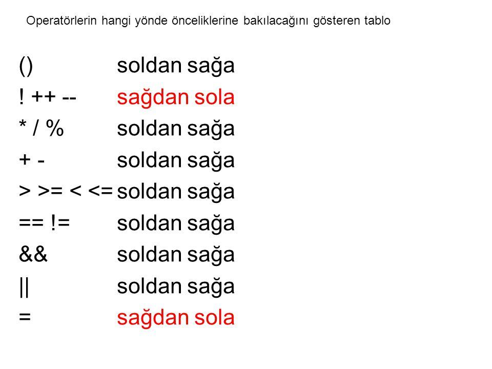()soldan sağa ! ++ --sağdan sola * / %soldan sağa + -soldan sağa > >= < <=soldan sağa == !=soldan sağa &&soldan sağa ||soldan sağa = sağdan sola Opera