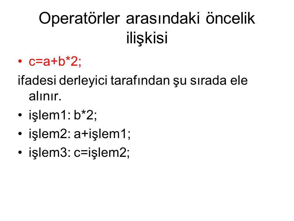 Operatörler arasındaki öncelik ilişkisi •c=a+b*2; ifadesi derleyici tarafından şu sırada ele alınır. •işlem1: b*2; •işlem2: a+işlem1; •işlem3: c=işlem