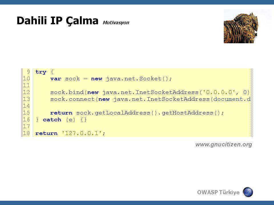 OWASP Türkiye Dahili IP Çalma Motivasyon www.gnucitizen.org