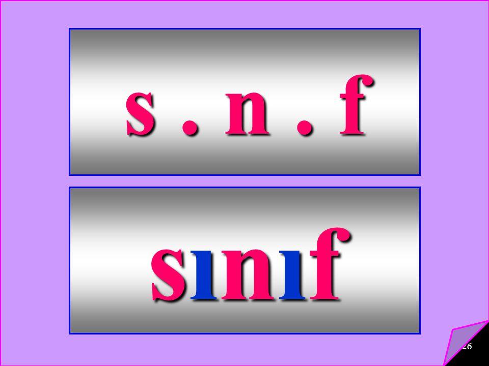 26 s. n. f sınıfsınıfsınıfsınıf