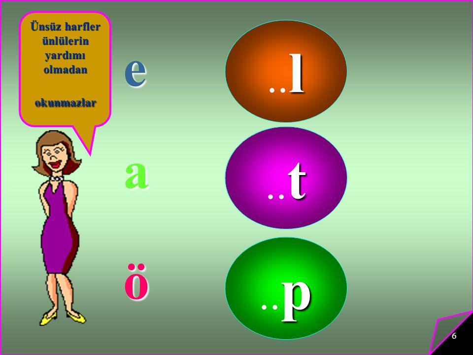 6 Ünsüz harfler ünlülerin yardımı olmadan okunmazlar l.. l e t.. t a p.. p ö