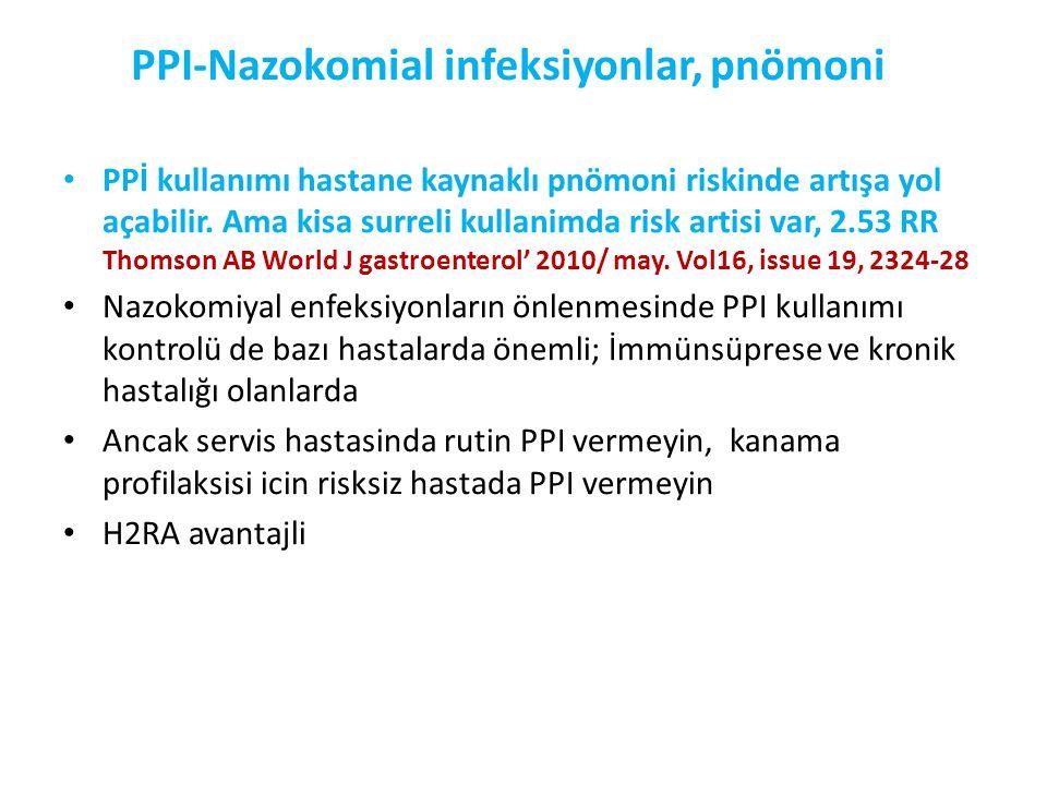 PPI-Nazokomial infeksiyonlar, pnömoni • PPİ kullanımı hastane kaynaklı pnömoni riskinde artışa yol açabilir. Ama kisa surreli kullanimda risk artisi v