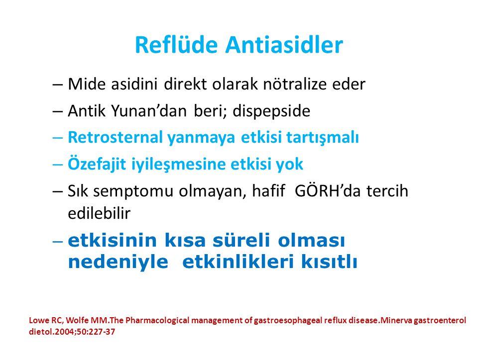 Reflüde Antiasidler – Mide asidini direkt olarak nötralize eder – Antik Yunan'dan beri; dispepside – Retrosternal yanmaya etkisi tartışmalı – Özefajit
