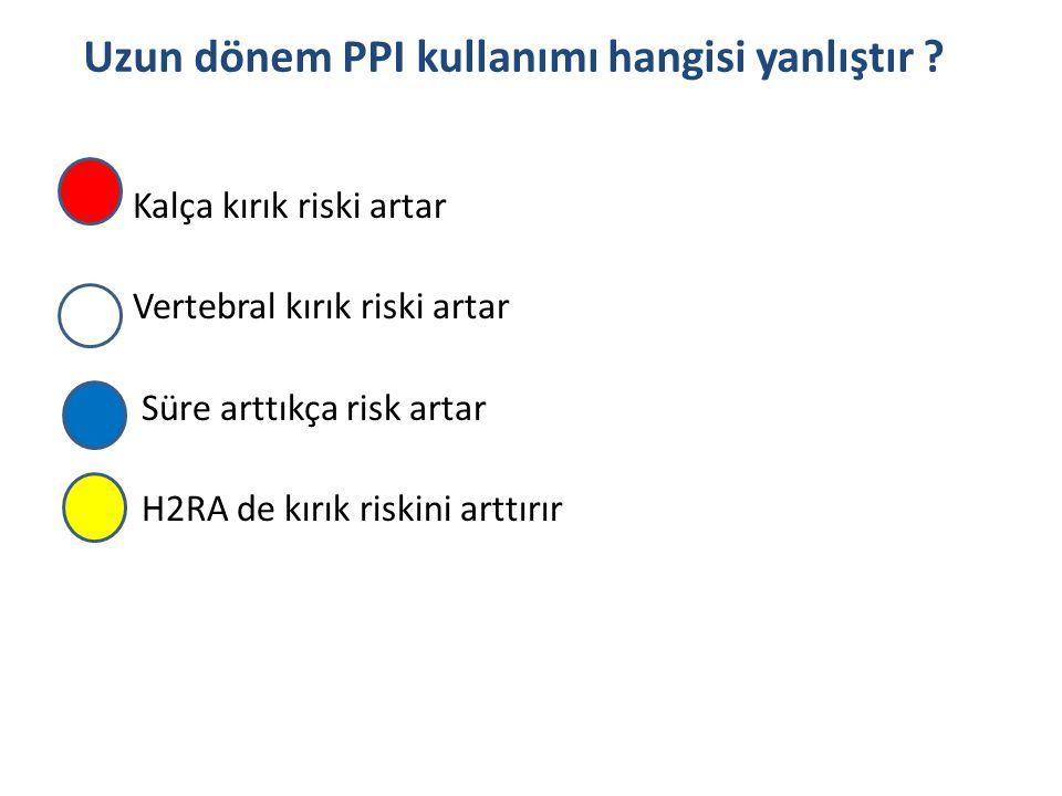 Kalça kırık riski artar Vertebral kırık riski artar Süre arttıkça risk artar H2RA de kırık riskini arttırır Uzun dönem PPI kullanımı hangisi yanlıştır
