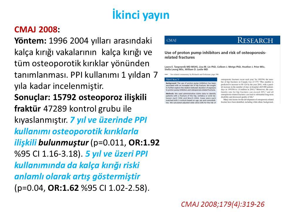 İkinci yayın CMAJ 2008;179(4):319-26 CMAJ 2008: Yöntem: 1996 2004 yılları arasındaki kalça kırığı vakalarının kalça kırığı ve tüm osteoporotik kırıkla