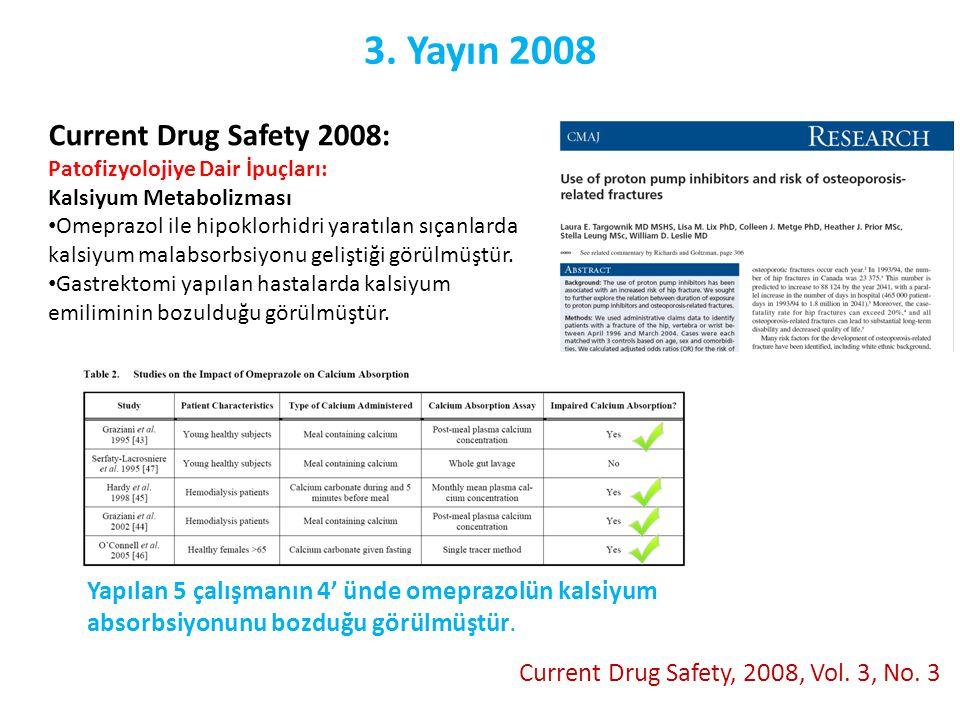 3. Yayın 2008 Current Drug Safety, 2008, Vol. 3, No. 3 Current Drug Safety 2008: Patofizyolojiye Dair İpuçları: Kalsiyum Metabolizması • Omeprazol ile