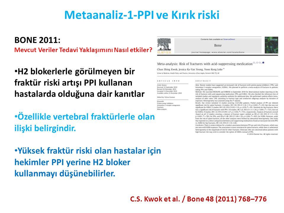 Metaanaliz-1-PPI ve Kırık riski C.S. Kwok et al. / Bone 48 (2011) 768–776 BONE 2011: Mevcut Veriler Tedavi Yaklaşımını Nasıl etkiler? • H2 blokerlerle