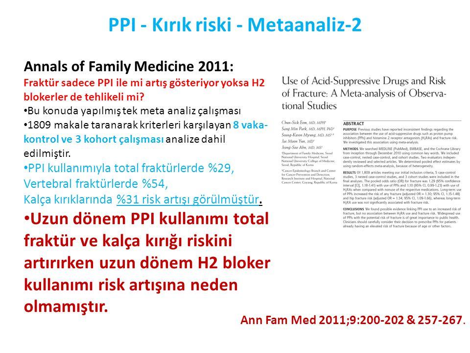 PPI - Kırık riski - Metaanaliz-2 Ann Fam Med 2011;9:200-202 & 257-267. Annals of Family Medicine 2011: Fraktür sadece PPI ile mi artış gösteriyor yoks