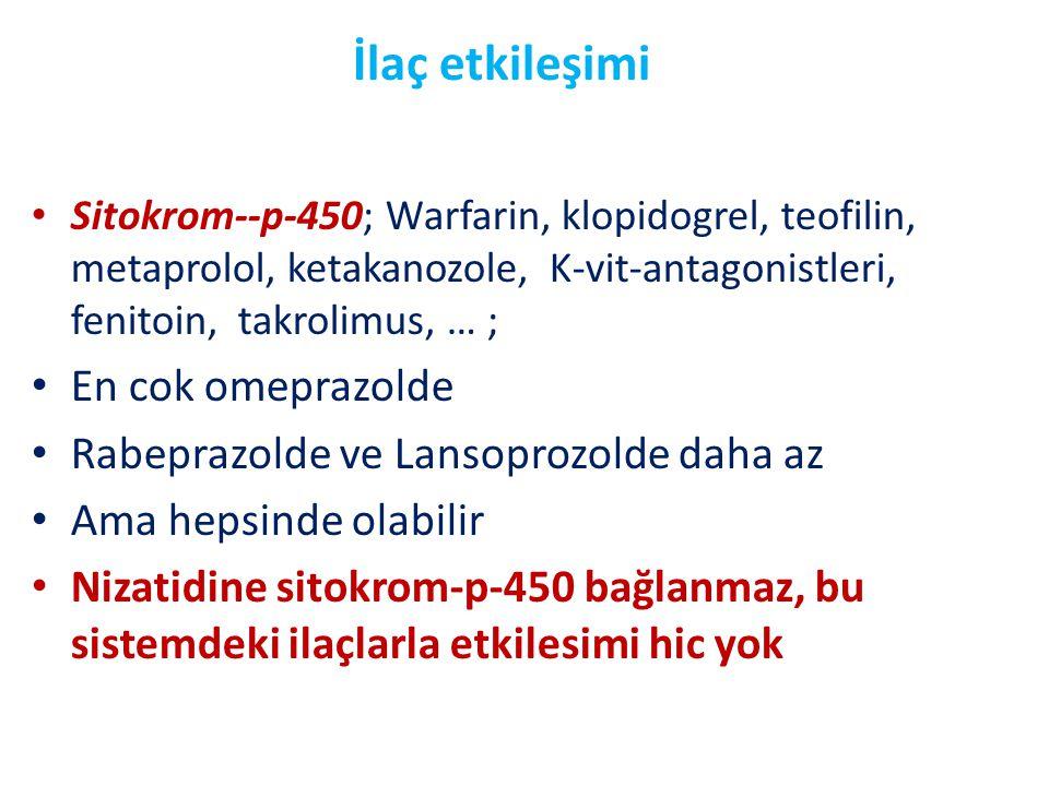 İlaç etkileşimi • Sitokrom--p-450; Warfarin, klopidogrel, teofilin, metaprolol, ketakanozole, K-vit-antagonistleri, fenitoin, takrolimus, … ; • En cok