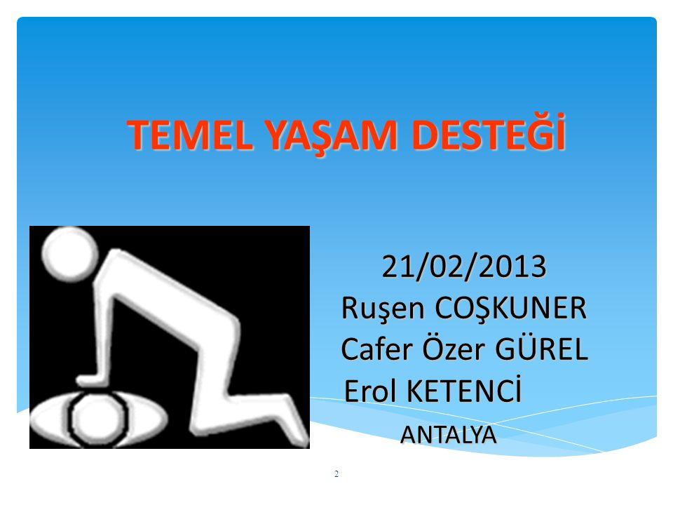 TEMEL YAŞAM DESTEĞİ 21/02/2013 Ruşen COŞKUNER Cafer Özer GÜREL Erol KETENCİ ANTALYA 2