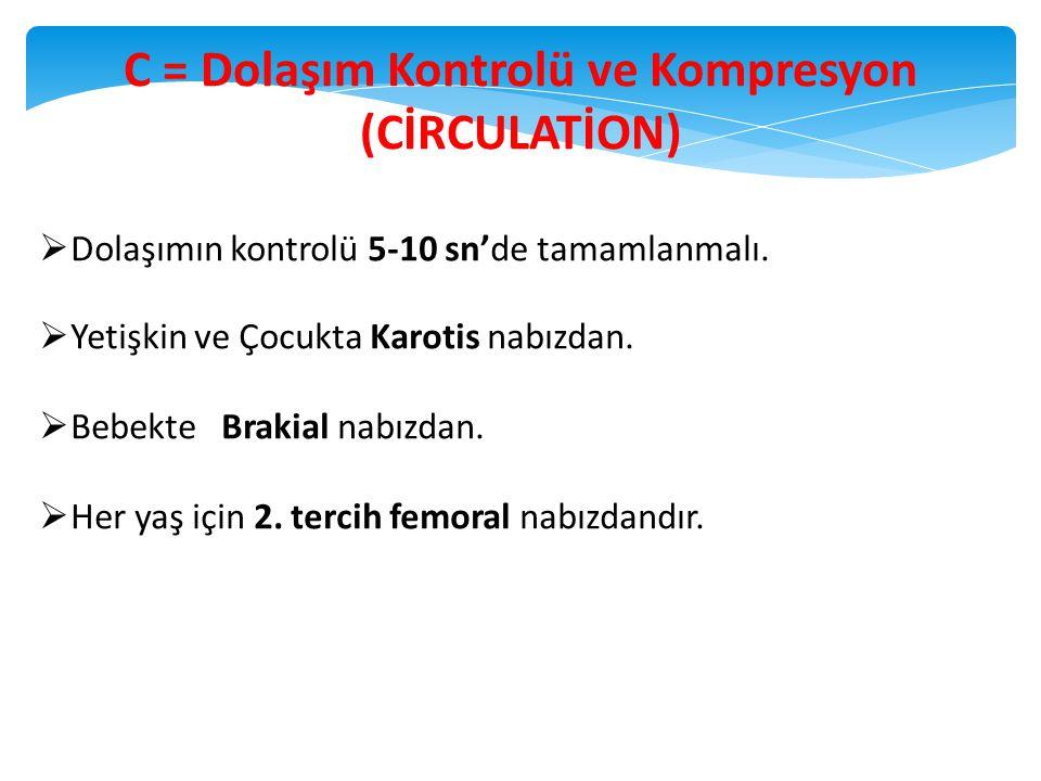 24 C = Dolaşım Kontrolü ve Kompresyon (CİRCULATİON)  Dolaşımın kontrolü 5-10 sn'de tamamlanmalı.  Yetişkin ve Çocukta Karotis nabızdan.  Bebekte Br