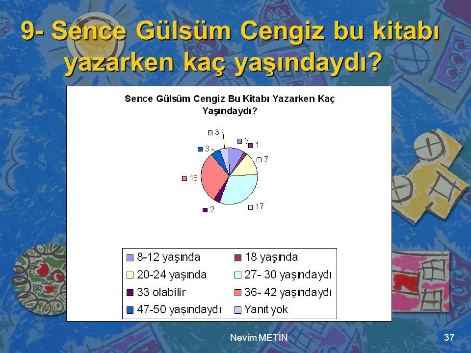 Nevim METİN37 9- Sence Gülsüm Cengiz bu kitabı yazarken kaç yaşındaydı?