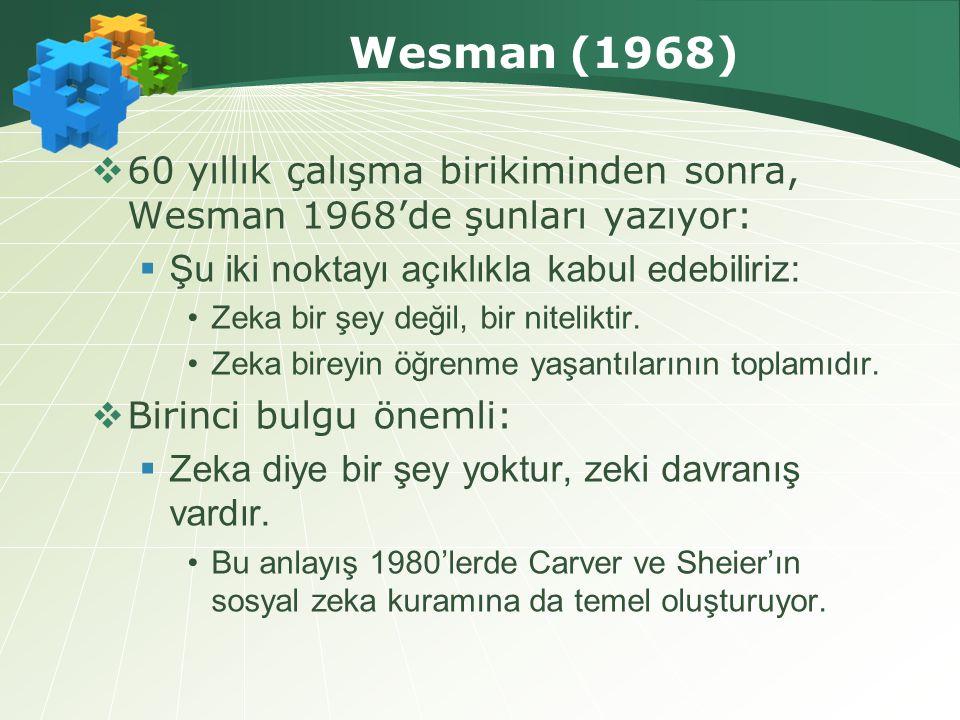 Wesman (1968)  60 yıllık çalışma birikiminden sonra, Wesman 1968'de şunları yazıyor:  Şu iki noktayı açıklıkla kabul edebiliriz: •Zeka bir şey değil, bir niteliktir.