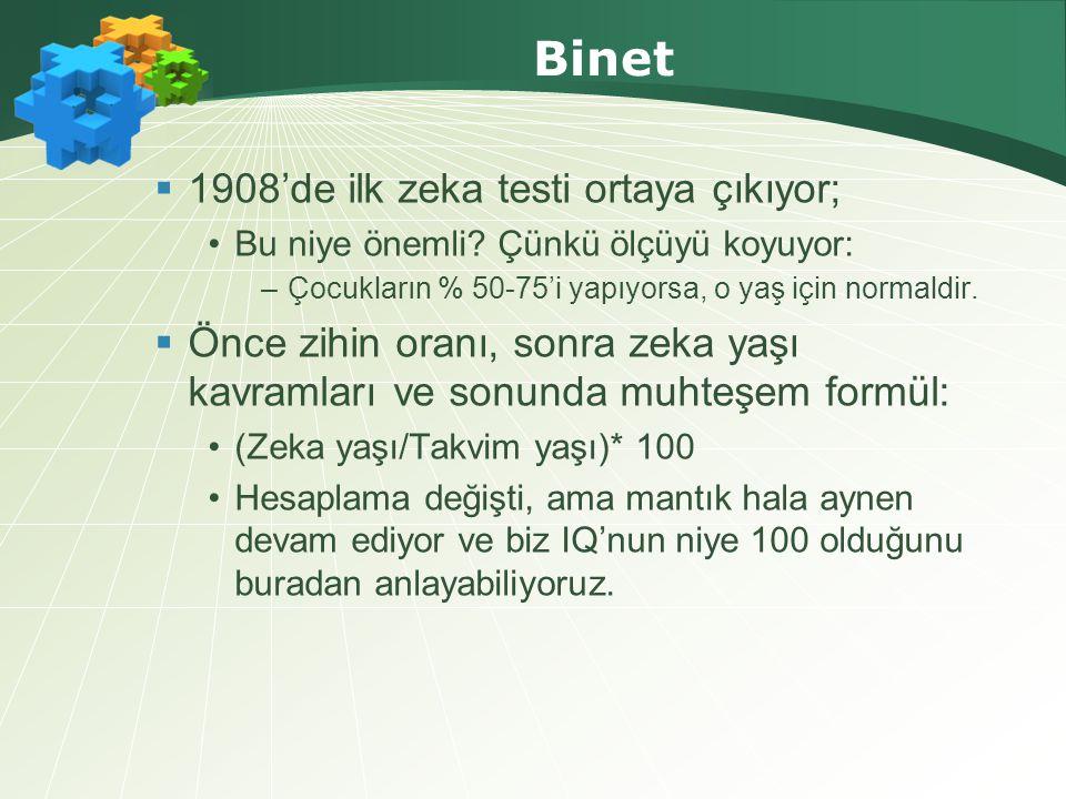 Binet  1908'de ilk zeka testi ortaya çıkıyor; •Bu niye önemli.