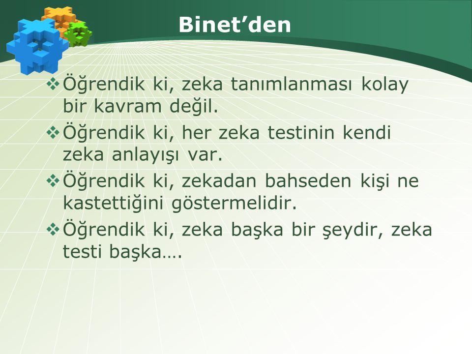  Binet'nin çalışmaları zeka ile ilgili tartışmalardan zeka testi ile ilgili tartışmaları ayırmıştır.