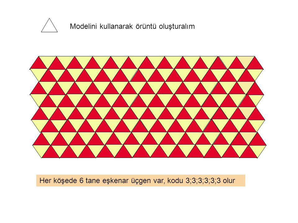Her köşede 2 tane dörtgen ve 3 tane eşkenar üçgen olduğundan, süslemenin kodu, 4;4;3;3;3 olur.