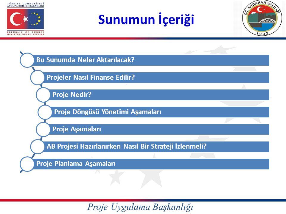 Proje Döngüsünün Aşamaları Proje Fikrini Belirleme Finansman sağlayan kurum ve kuruluşun öncelikleri ve amaçları ile uyumlu bir şekilde gerçekleştirilecek sorun analizi sonucunda proje fikrinin yöneleceği öncelik alanlarının belirlenmesi süreci.