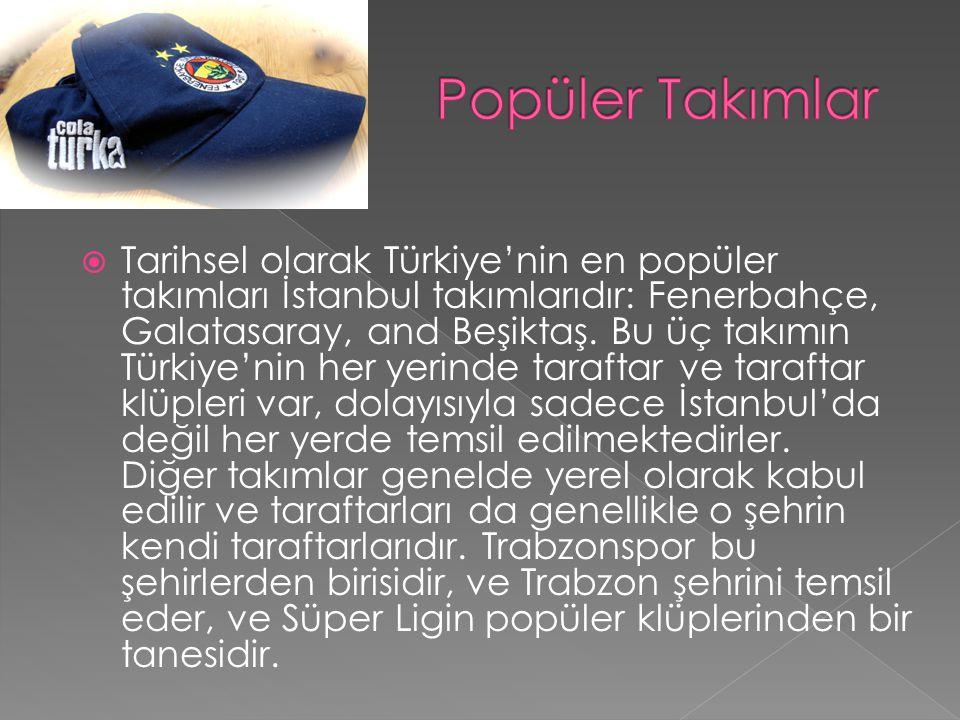  Tarihsel olarak Türkiye'nin en popüler takımları İstanbul takımlarıdır: Fenerbahçe, Galatasaray, and Beşiktaş.
