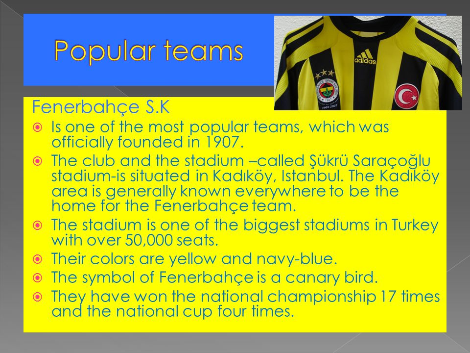 Fenerbahçe S.K  Is one of the most popular teams, which was officially founded in 1907.  The club and the stadium –called Şükrü Saraçoğlu stadium-is