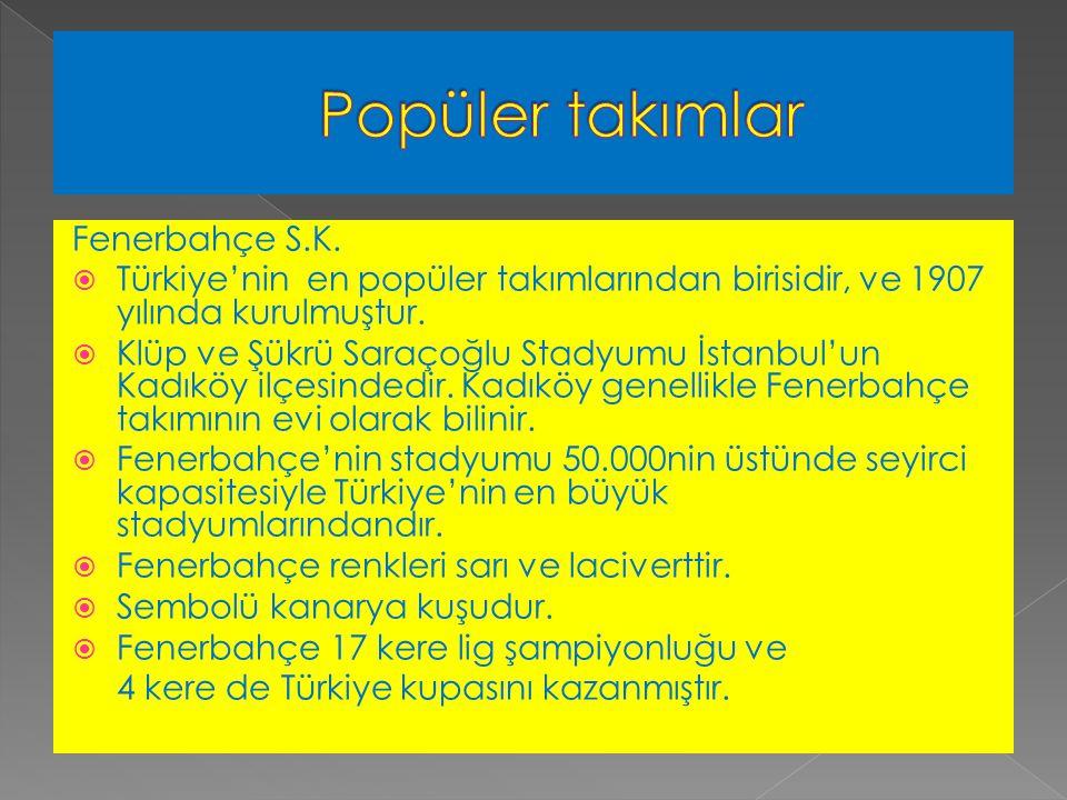 Fenerbahçe S.K.  Türkiye'nin en popüler takımlarından birisidir, ve 1907 yılında kurulmuştur.