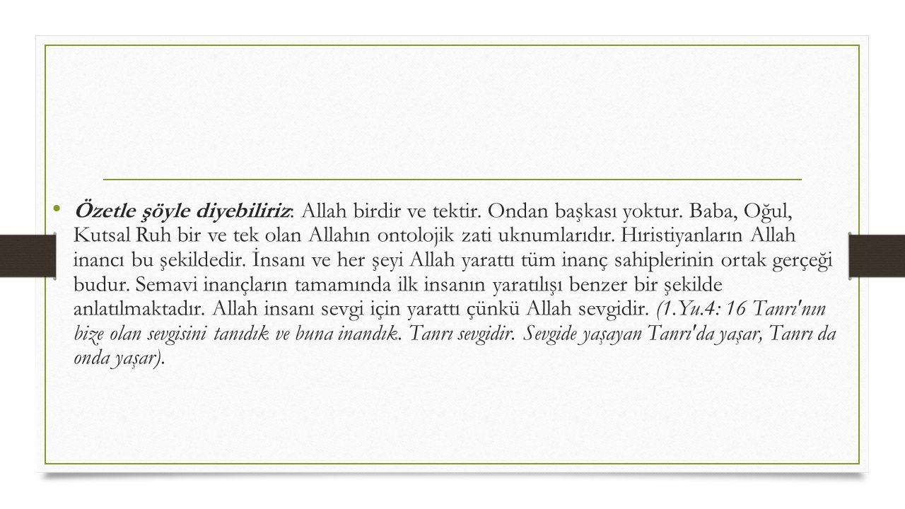 • Özetle şöyle diyebiliriz: Allah birdir ve tektir. Ondan başkası yoktur. Baba, Oğul, Kutsal Ruh bir ve tek olan Allahın ontolojik zati uknumlarıdır.
