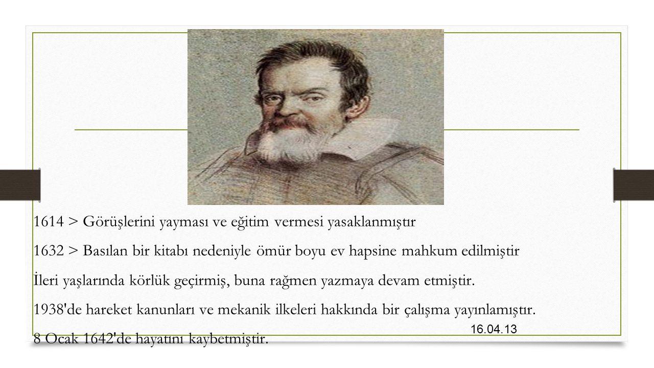 16.04.13 1614 > Görüşlerini yayması ve eğitim vermesi yasaklanmıştır 1632 > Basılan bir kitabı nedeniyle ömür boyu ev hapsine mahkum edilmiştir İleri