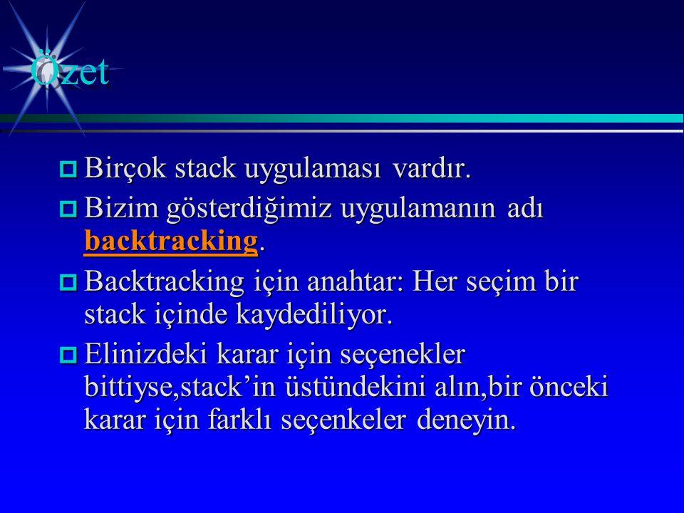 p Birçok stack uygulaması vardır. p Bizim gösterdiğimiz uygulamanın adı backtracking.