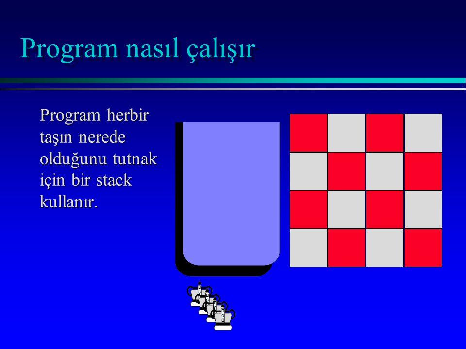 Program nasıl çalışır Program herbir taşın nerede olduğunu tutnak için bir stack kullanır.