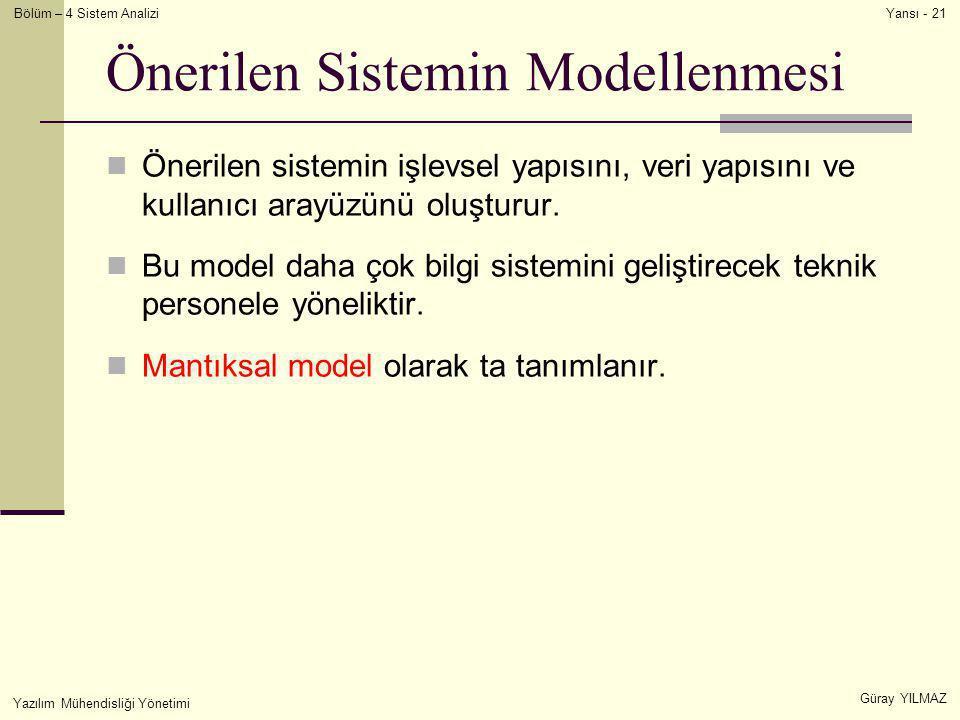 Bölüm – 4 Sistem Analizi Güray YILMAZ Yansı - 21 Yazılım Mühendisliği Yönetimi Önerilen Sistemin Modellenmesi  Önerilen sistemin işlevsel yapısını, v