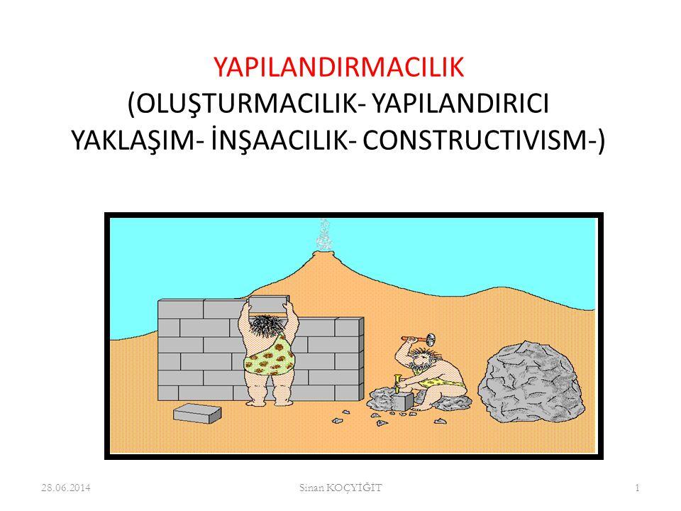 Yapılandırmacılık = Constructivism 28.06.2014Sinan KOÇYİĞİT2 Oluşturmacılık Yapılandırmacı öğrenme Kurmacı Anlayış Yapılandırıcı öğrenme Bütünleştiricilik Oluşumcu Yaklaşım