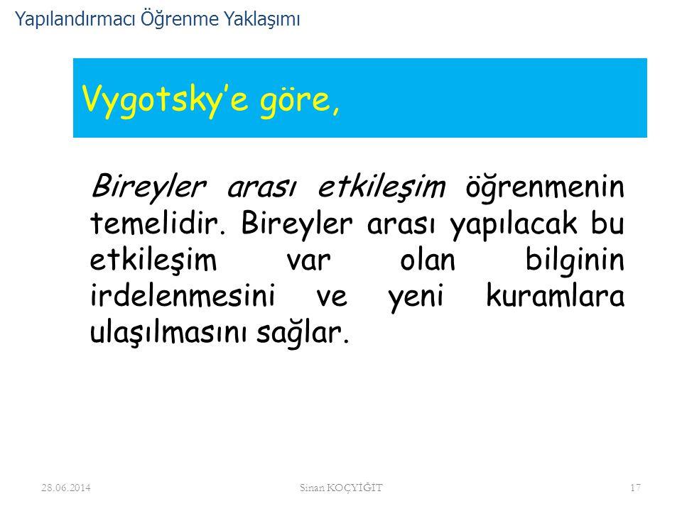Vygotsky'e göre, Bireyler arası etkileşim öğrenmenin temelidir. Bireyler arası yapılacak bu etkileşim var olan bilginin irdelenmesini ve yeni kuramlar