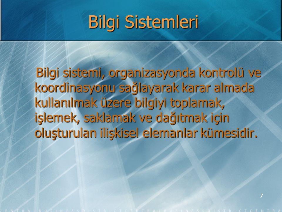 8 Bilgi Sisteminin Tarafları  Kullanıcı  Yönetici  Programcı  Bilgi sistem destek personeli  Sistem analisti