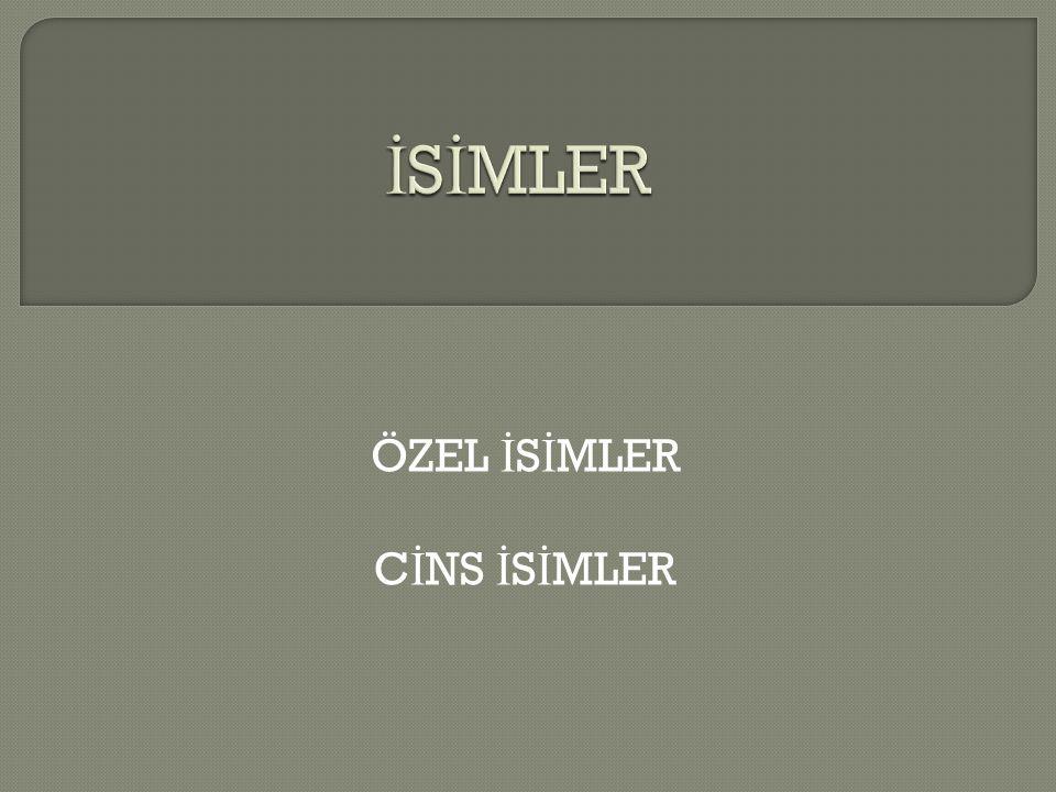 ÖZEL İ S İ MLER C İ NS İ S İ MLER