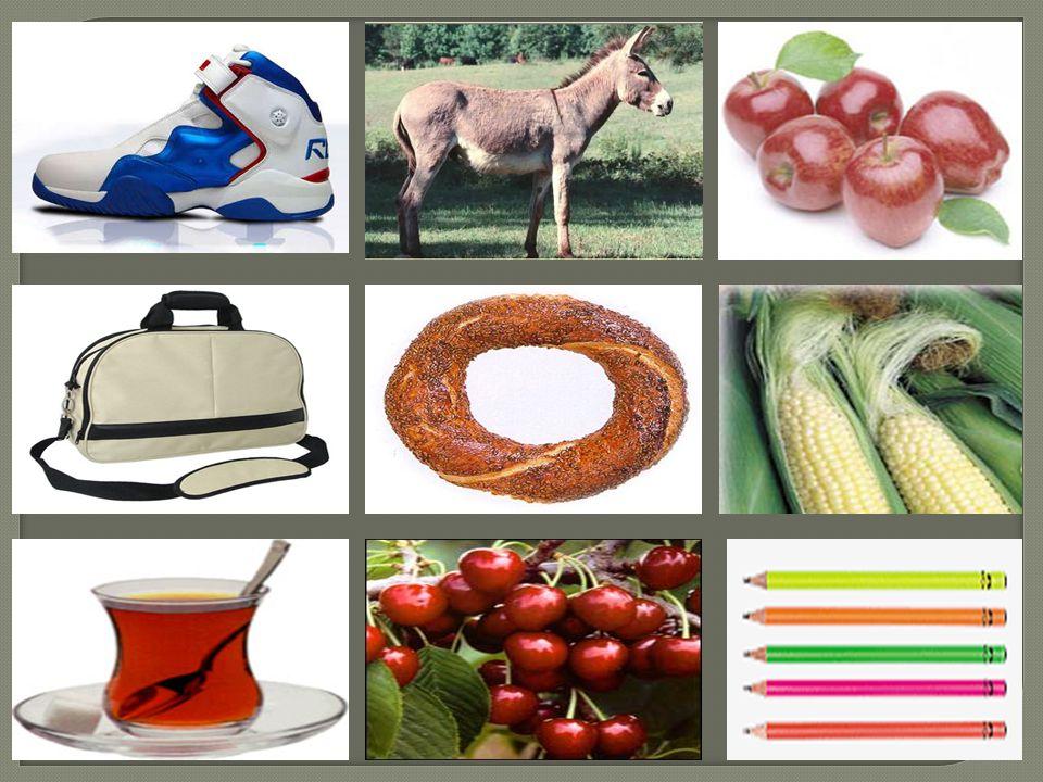 Ayakkabı Çanta Çay Simit Kiraz Elma Mısır Kalem E ş ek Sizce bu varlıklardan yeryüzünde kaç tane vardır?