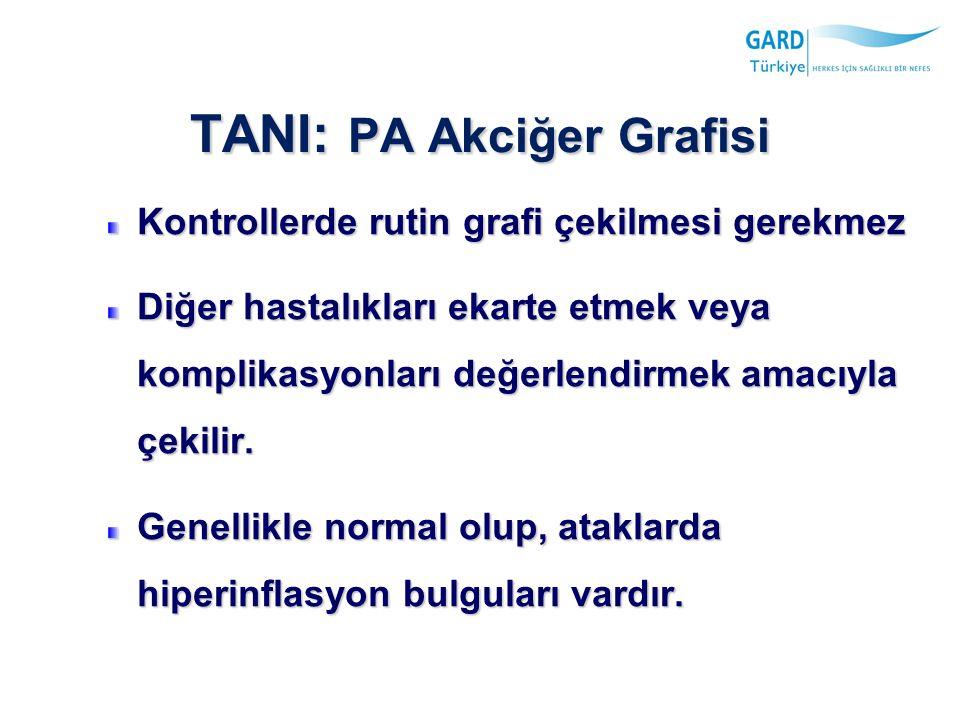 TANI: PA Akciğer Grafisi Kontrollerde rutin grafi çekilmesi gerekmez Diğer hastalıkları ekarte etmek veya komplikasyonları değerlendirmek amacıyla çekilir.