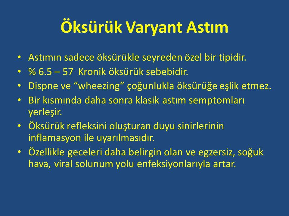 Öksürük Varyant Astım • Astımın sadece öksürükle seyreden özel bir tipidir.