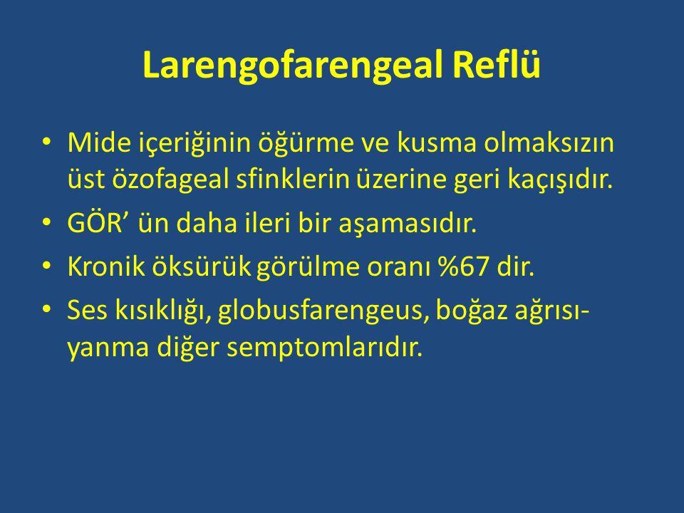 Larengofarengeal Reflü • Mide içeriğinin öğürme ve kusma olmaksızın üst özofageal sfinklerin üzerine geri kaçışıdır.