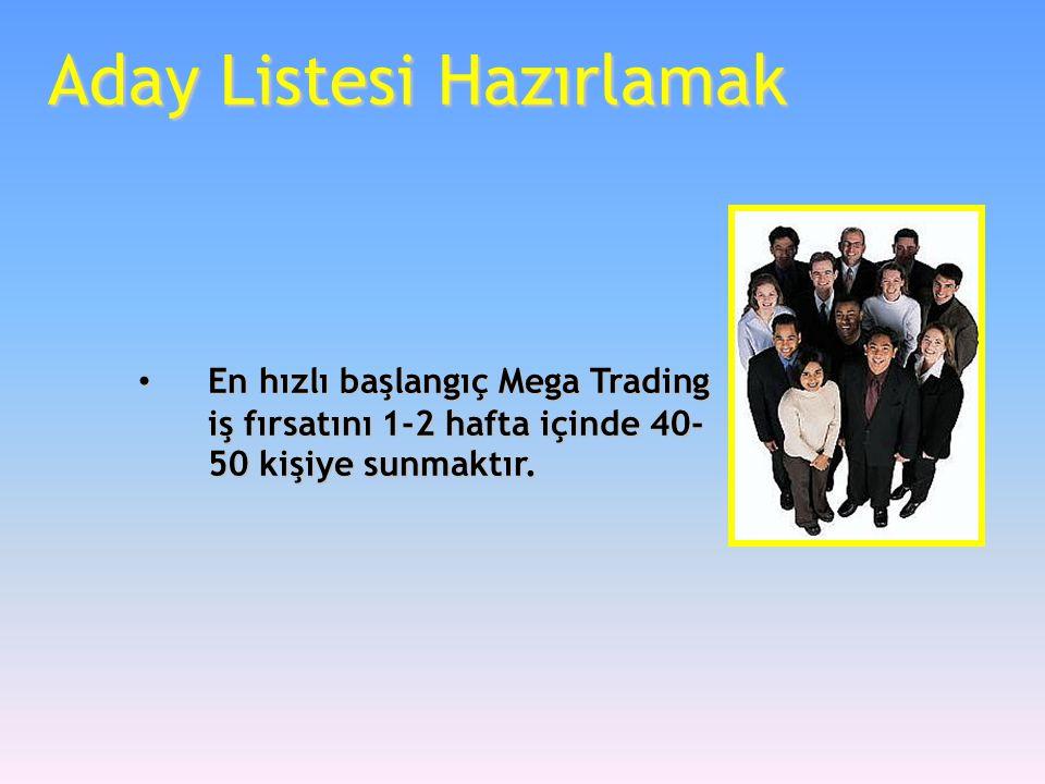 Aday Listesi Hazırlamak • En hızlı başlangıç Mega Trading iş fırsatını 1-2 hafta içinde 40- 50 kişiye sunmaktır.