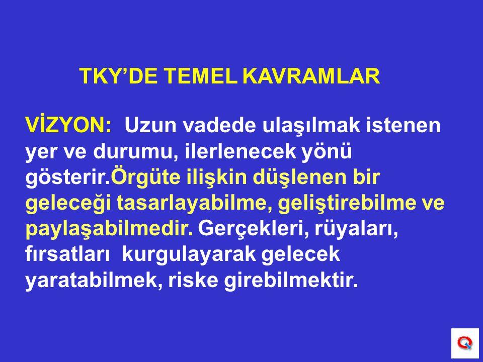 TKY'DE TEMEL KAVRAMLAR VİZYON: Uzun vadede ulaşılmak istenen yer ve durumu, ilerlenecek yönü gösterir.Örgüte ilişkin düşlenen bir geleceği tasarlayabi