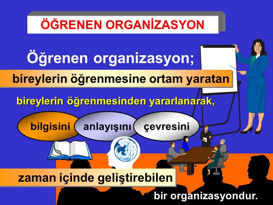 Öğrenen organizasyon; bireylerin öğrenmesine ortam yaratan bireylerin öğrenmesinden yararlanarak, bilgisinianlayışınıçevresini bir organizasyondur. za