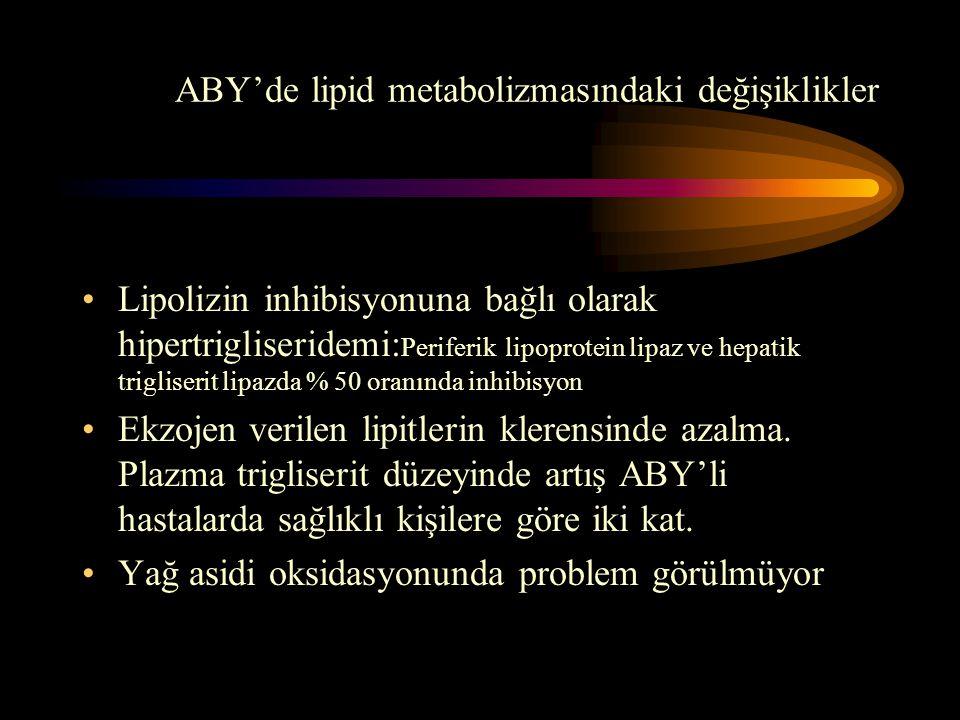 ABY'de lipid metabolizmasındaki değişiklikler •Lipolizin inhibisyonuna bağlı olarak hipertrigliseridemi: Periferik lipoprotein lipaz ve hepatik trigli