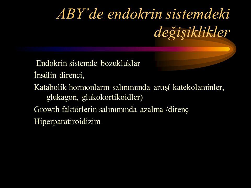 ABY'de endokrin sistemdeki değişiklikler Endokrin sistemde bozukluklar İnsülin direnci, Katabolik hormonların salınımında artış( katekolaminler, gluka