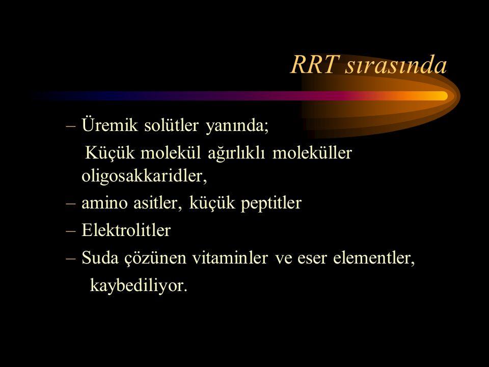 RRT sırasında –Üremik solütler yanında; Küçük molekül ağırlıklı moleküller oligosakkaridler, –amino asitler, küçük peptitler –Elektrolitler –Suda çözü