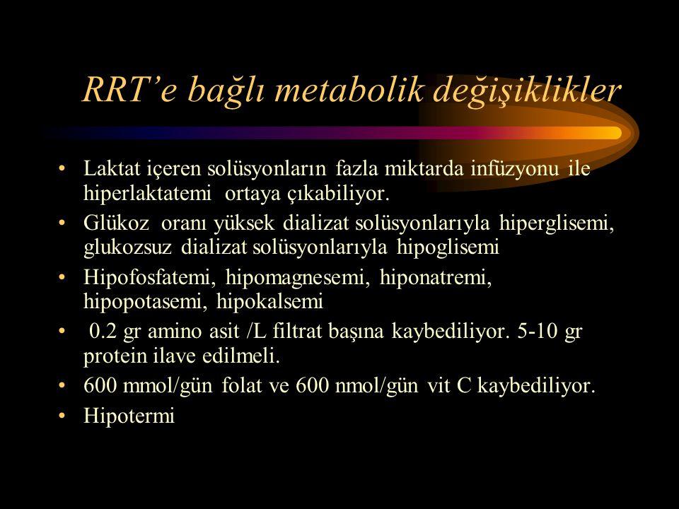 RRT'e bağlı metabolik değişiklikler •Laktat içeren solüsyonların fazla miktarda infüzyonu ile hiperlaktatemi ortaya çıkabiliyor. •Glükoz oranı yüksek