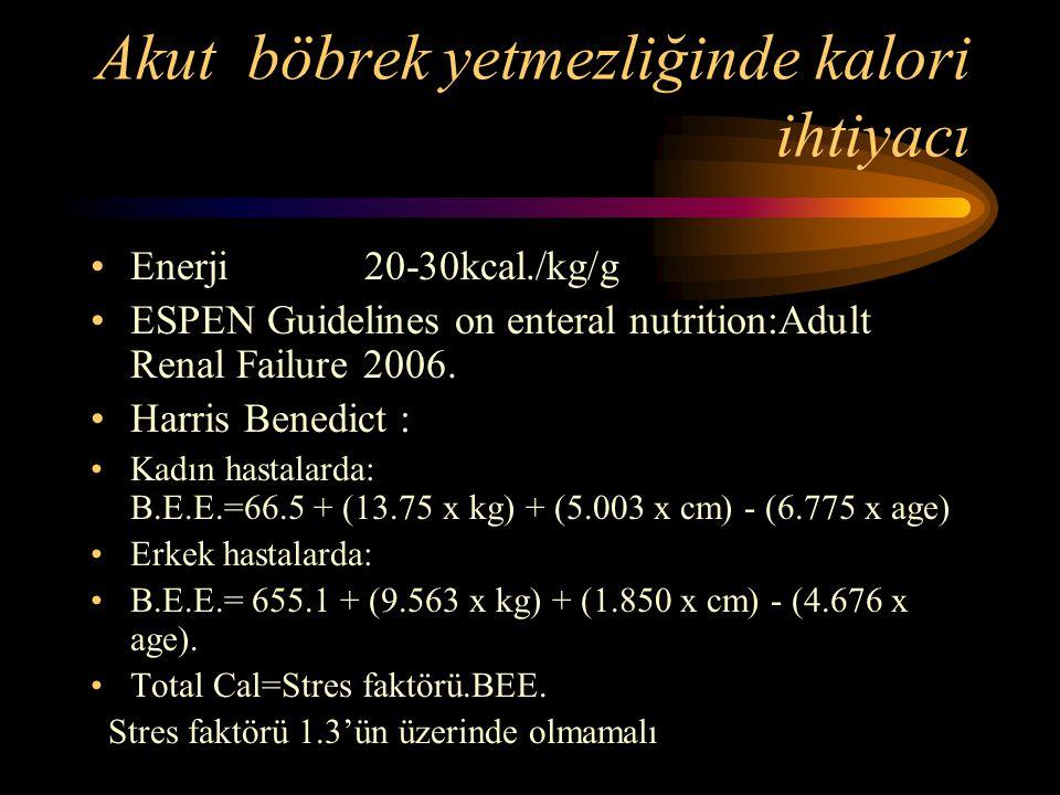 Akut böbrek yetmezliğinde kalori ihtiyacı •Enerji 20-30kcal./kg/g •ESPEN Guidelines on enteral nutrition:Adult Renal Failure 2006. •Harris Benedict :