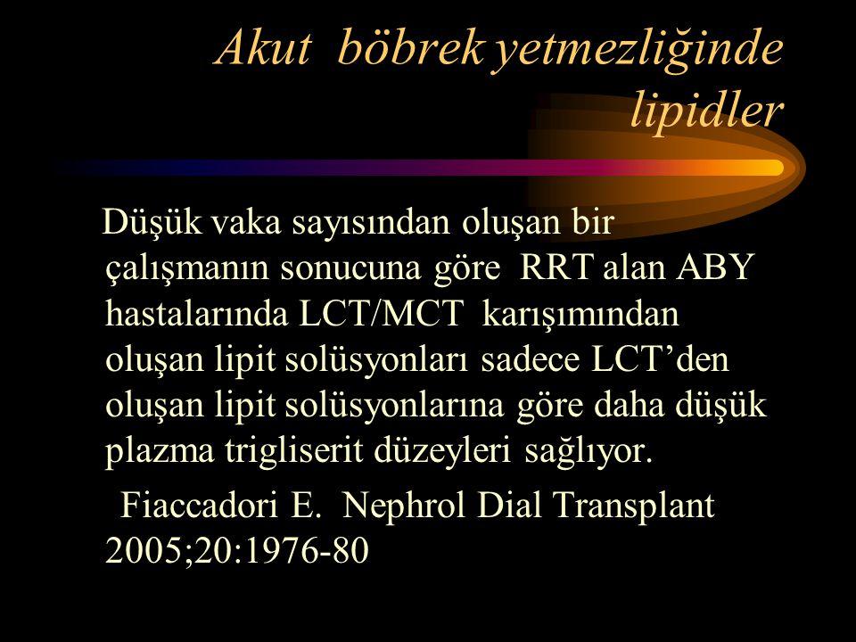 Akut böbrek yetmezliğinde lipidler Düşük vaka sayısından oluşan bir çalışmanın sonucuna göre RRT alan ABY hastalarında LCT/MCT karışımından oluşan lip