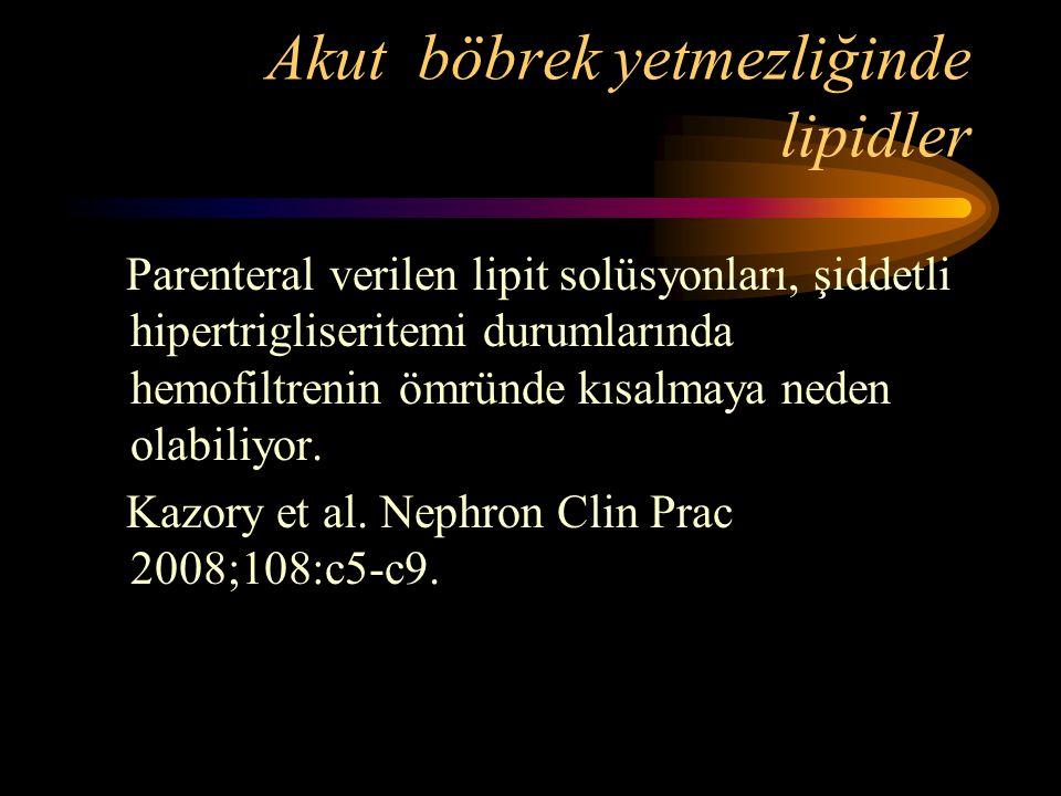 Akut böbrek yetmezliğinde lipidler Parenteral verilen lipit solüsyonları, şiddetli hipertrigliseritemi durumlarında hemofiltrenin ömründe kısalmaya ne